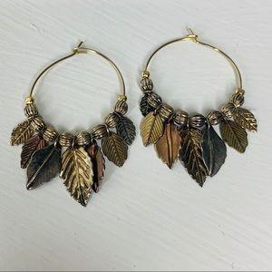Jewelry - 🎉5 for $25🎉 Leaf Hoop Earrings